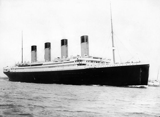 RMS Titanic departing Southampton on 10 April 1912