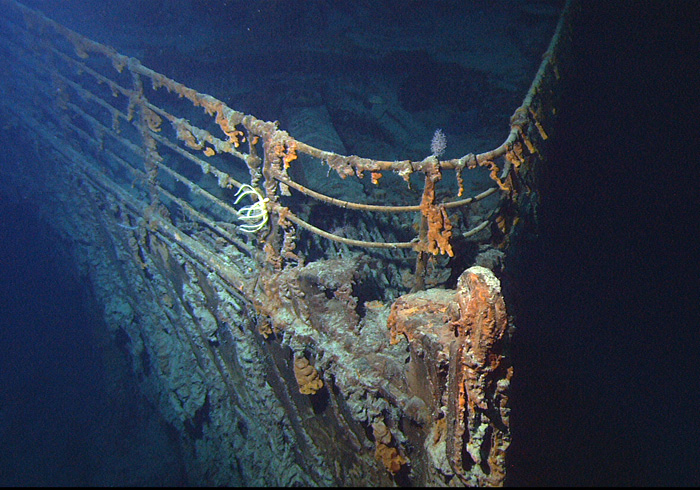 The bow of the wrecked RMS Titanic, photographed in June 2004